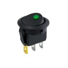 On-Off Round Rocker Switch (Dot Light) - Green