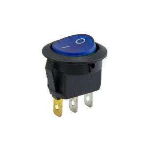 On-Off Round Rocker Switch (Neon Lamp) - Blue